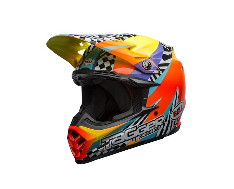 CASQUE CROSS BELL MOTO-9 TAGGER BREAKOUT ORANGE/YELLOW BRILLANT