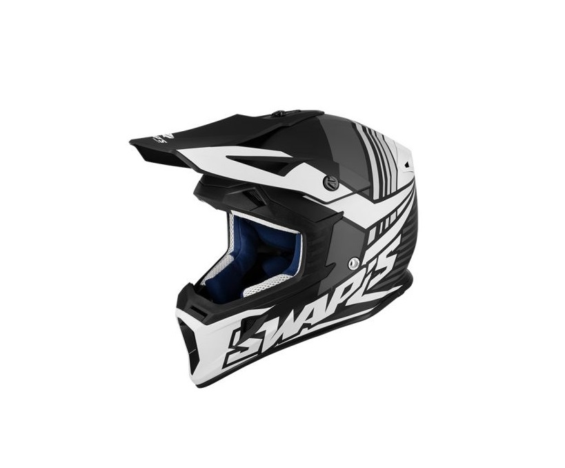 CASQUE CROSS SWAP'S BLUR S818 NOIR/BLANC MAT