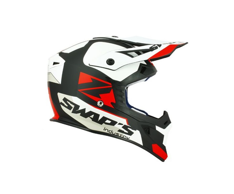 CASQUE CROSS SWAP'S BLUR S818 NOIR/BLANC/ROUGE MAT