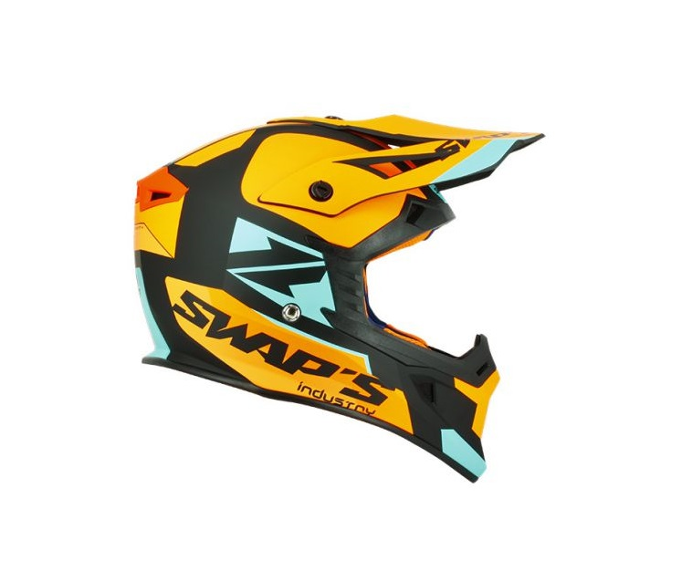 CASQUE CROSS SWAP'S BLUR S818 NOIR/ORANGE/BLEU MAT