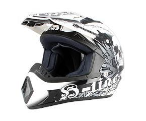 CASQUE CROSS S-LINE S813 SKELETON NOIR/BLANC BRILLANT