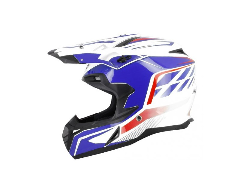 CASQUE CROSS S-LINE S820 BLANC DECO BLEUE