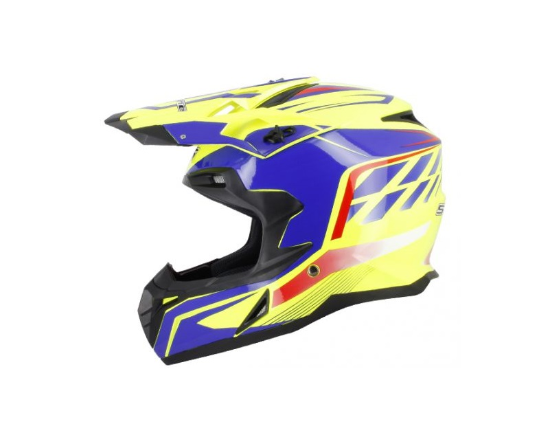 CASQUE CROSS S-LINE S820 JAUNE DECO BLEUE