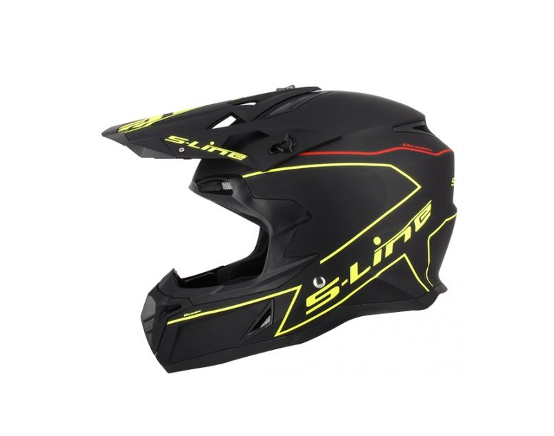 CASQUE CROSS S-LINE S820 NOIR MAT DECO FILETS JAUNE FLUO