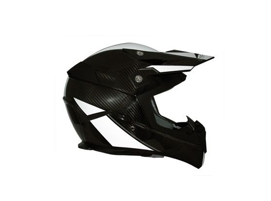 CASQUE CROSS STEALTH S810 EN FIBRE CARBONE DECO BLANCHE BRILLANT