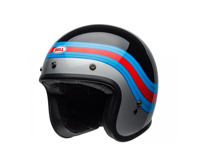 CASQUE JET BELL CUSTOM 500 DLX PULSE GLOSS NOIR/BLEU/ROUGE BRILLANT
