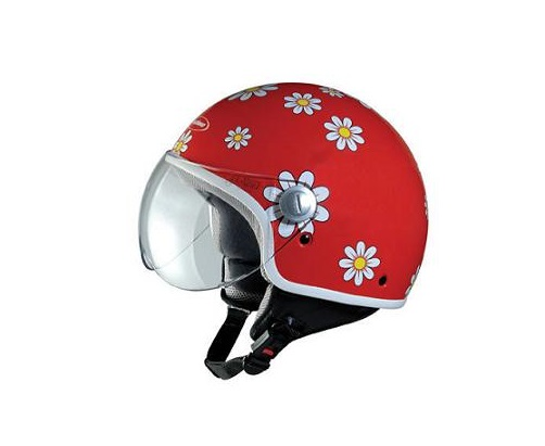 CASQUE DEMI-JET TECHNO FLOWERS ROUGE/ROSE