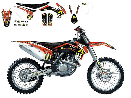 KIT DECO BLACKBIRD REPLICA ARMA ENERGY † HOUSSE DE SELLE KTM SX/SX-F 2001-2004 - EXC/EXC-F 2003-2004