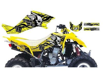 KIT DECO BLACKBIRD TRIBAL SKULL II JAUNE SUZUKI 400 LTZ 2003-2010