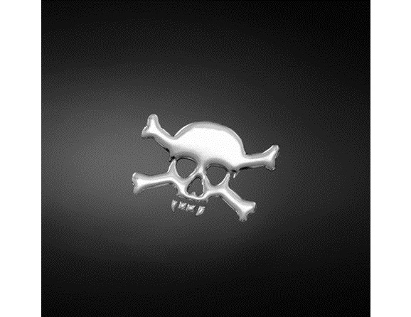 STICKER 3D ADHESIF HIGHWAY HAWK SKULL/BONES 80MM X 60MM
