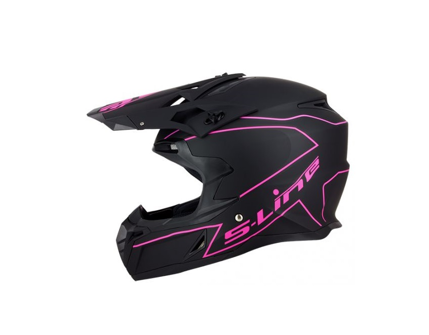 CASQUE CROSS S-LINE S820 NOIR MAT DECO FILETS ROSE