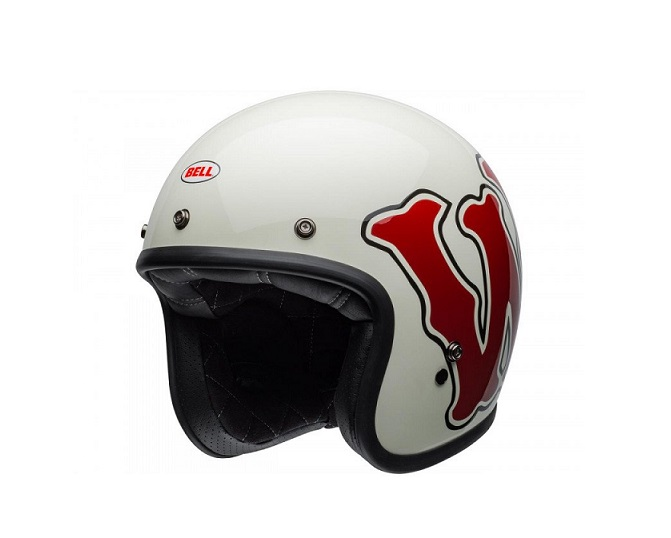 CASQUE JET BELL CUSTOM 500 DLX SE RSD WFO GLOSS BLANC/ROUGE BRILLANT