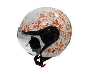 CASQUE JET FURYTECH JUST EVO BLANC BRILLANT AVEC DECO FLEUR ORANGE