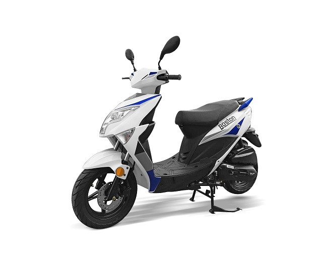 SCOOTER TNT MOTOR BOSTON 4 TEMPS 50CC 12 POUCES BLANC/BLEU EURO4